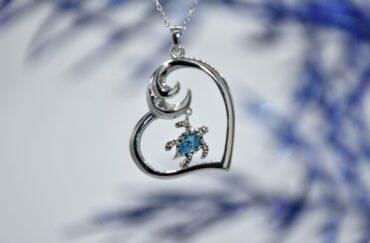 Sterling Silver Heart/Wave Pendant